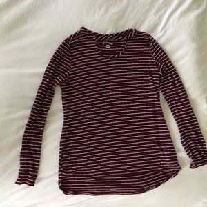 maroon and white striped long sleeve cute top